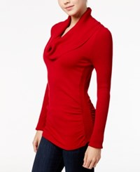 It's Our Time Juniors' Cowl Neck Sweater Scarlet Red