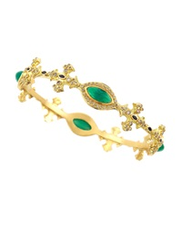 Armenta Green Onyx And Diamond Cross Bangle