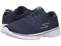 Skechers Go Walk 4 Exceed Navy White Women's Lace Up Casual Shoes Blue