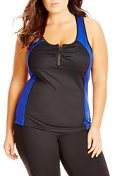 Plus Size Women's City Chic Zip Front Racerback Tank Black Cobalt