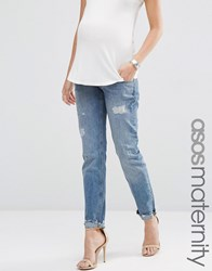 Asos Maternity Portland Loose Boyfriend Jeans With Embroidery And Rip And Repair Blue