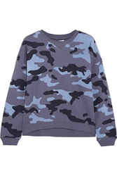 Zoe Karssen Camouflage Print Cotton Blend Sweatshirt Blue