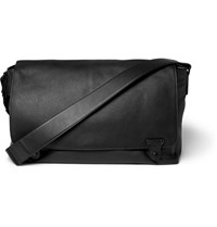 Lanvin Grained Leather Messenger Bag Black