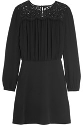 Michael Michael Kors Lace Paneled Crepe Mini Dress Black