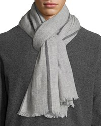 Neiman Marcus Cashmere Side Tipped Scarf W Gift Box Light Gray Lt. Grey Drk Grey