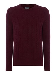 Howick Andover Cable Crew Neck Burgundy