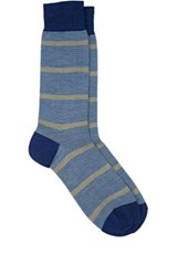 Barneys New York Men's Mixed Stripe Mid Calf Socks Navy