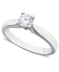 Macy's Certified Diamond Round Solitaire Engagement Ring In 14K White Gold 3 8 Ct. T.W.