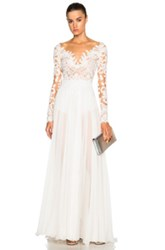 Zuhair Murad Embroidered Long Sleeve Gown In White