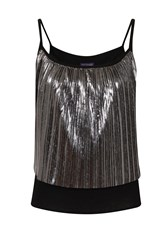 Hotsquash Clever Lined Metallic Pleat Cami Top Silver Metallic
