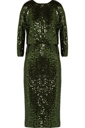 Badgley Mischka Sequined Tulle Dress Green