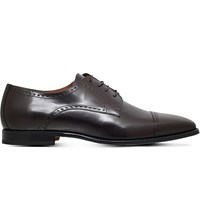 Corneliani Punched Leather Derby Shoes Brown