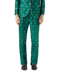Gucci Bee Embroidered Jacquard Pants Teal