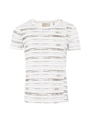 Garcia Mens Stripe Cotton T Shirt White