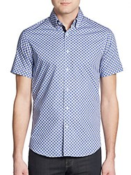 Report Collection Regular Fit Circle Print Cotton Sportshirt Royal Blue