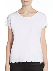 Saks Fifth Avenue Red Scalloped Top White