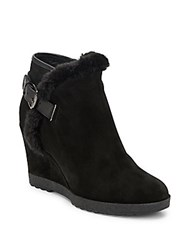 Aquatalia By Marvin K Christa Leather And Suede Wedge Booties Black