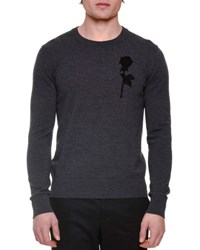 Dolce And Gabbana Rose Embroidery Long Sleeve Crewneck Sweater Gray
