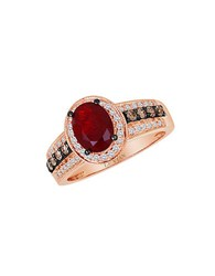 Le Vian Chocolatier Vanilla Diamond Chocolate Diamond Fire Opal And 14K Rose Gold Ring Red