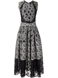 Sophie Theallet Flared Mix Pattern Dress Black