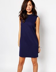 New Look High Neck Shift Dress Blue