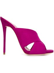 Giuseppe Zanotti Design Crisscross Front Mules Pink And Purple