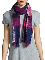 Fraas Plaid Frayed Scarf Fuchsia