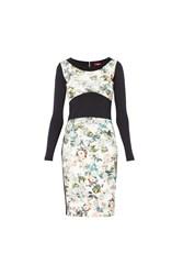 Maiocci Longsleeve Bodycon Floral Dress Black