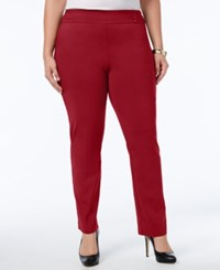 Jm Collection Plus Size Tummy Control Pull On Slim Leg Pants New Red Amore