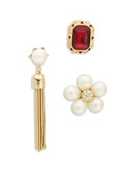 Design Lab Lord And Taylor Stone Faux Pearl Accented Pin Set Red