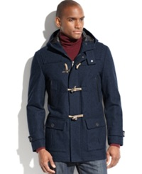 Nautica Coat Hooded Wool Blend Water And Wind Resistant Toggle Coat Dark Navy