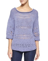 Pure Handknit 3 4 Sleeve Exposed Knit Pullover Women's