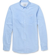Officine Generale Slim Fit Cotton Oxford Shirt Blue