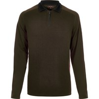 River Island Mens Dark Green Zip Neck Jumper
