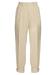 Hillier Bartley Ankle Strap High Rise Linen Trousers Beige