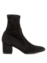 Valentino Block Heel Stretch Suede Ankle Boots Black
