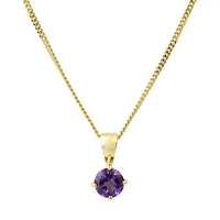 A B Davis 9Ct Yellow Gold Pendant Amethyst