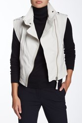 Mackage Rea Colorblock Moto Leather Vest White