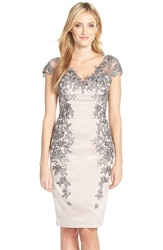 La Femme Fashions Floral Applique Satin Shift Dress Champagne Grey