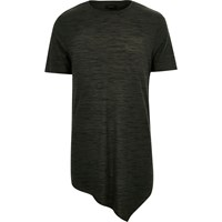 River Island Mens Khaki Marl Draped Asymmetric T Shirt