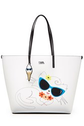 Karl Lagerfeld Choupette On The Beach Shopper White