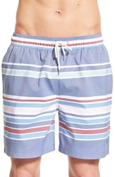 Men's Brooks Brothers 'Awnings Stripe Montauk' Swim Trunks Dark Blue