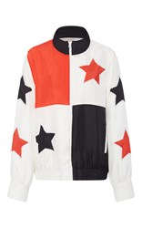 Cynthia Rowley Silk Applique Bomber Jacket White Tangerine Black