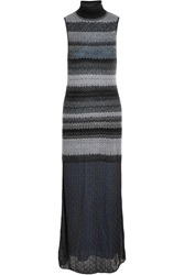 Missoni Crochet Knit Turtleneck Maxi Dress Gray