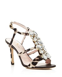 Kate Spade New York Imias Embellished Calf Hair T Strap High Heel Sandals Blush Brown