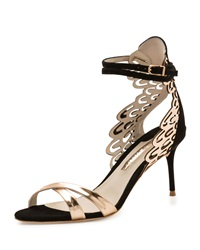 Sophia Webster Micah Metallic Butterfly Wing Sandal Black Rose Golden Black Rosegold