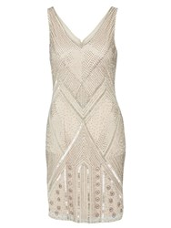 Adrianna Papell Sleeveless Beaded Flapper Style Dress Cream