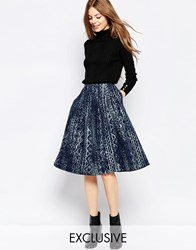 Helene Berman Embroidered Denim Skater Skirt Blue