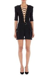 Balmain Pique Lace Up Cargo Romper Black