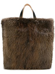 Marni Large Beaver Fur Tote Brown